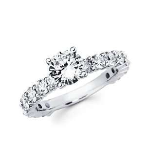 Diamond 18k White Gold Engagement Wedding Ring Band Set 1ct Center