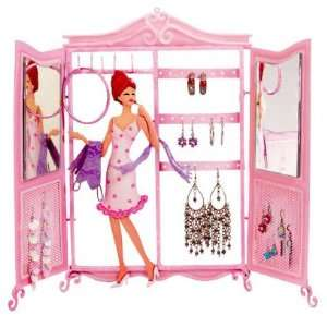 Walk In Closet Jewelry Holder with Mirror Pink Polka Dot Dress Girl