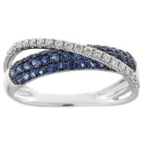 Gold Created Blue Sapphire and Diamond Accent Criss Cross Ring, Size 7