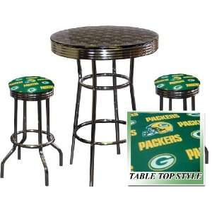 Green Bay Packers NFL Football Glass Top Chrome Bar Pub