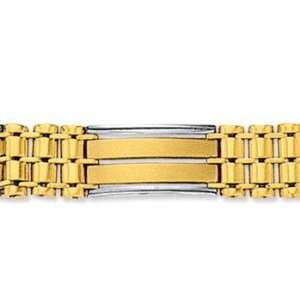 14k Two Tone Gold Classic Wide 10.00mm Mens Bracelet Jewelry
