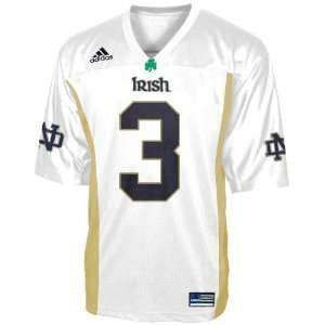 Adidas Notre Dame Fighting Irish #3 White Preschool Replica Football
