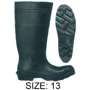 PVC BLACK KNEE BOOT STEEL TOE #13RAIN 11013