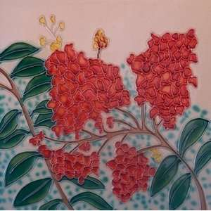 Red Flower Decorative Ceramic Wall Art Tile 8x8