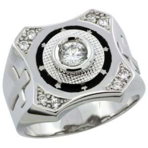 Sterling Silver Mens CZ Ring w/ Star Accents & Cross on Sides, 5/8 in