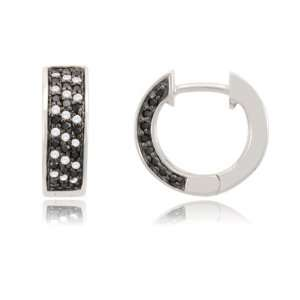 com 10k White Gold Zebra Diamond Hoop Earrings(11/25 cttw, I J Color