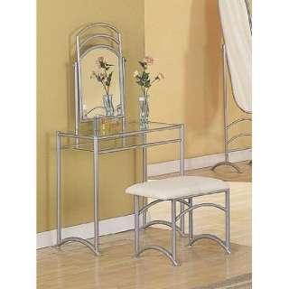 Silve Metal Vanity Table Mirror & Stool Bench Set Furniture & Decor