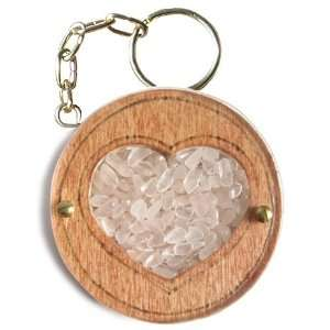 Magic Unique Gemstone and Wooden Amulet Love Talisman Heart Key Chain