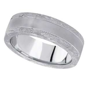 Hand Engraved Wedding Band Carved Ring in 14k White Gold