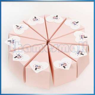 Pink Cake Slice Boxes Baby Shower Centerpiece w/ Shiny Flowers