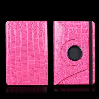Kindle Fire Pink Crocodile Leather Case Cover With Rotating Stand