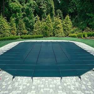 Mesh Safety Pool Cover  Pool Size 20 x 44 Green Rectangle Right