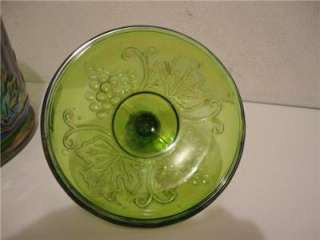 INDIANA RARE VINTAGE HARVEST GRAPE GREEN CARNIVAL GLASS CANISTER