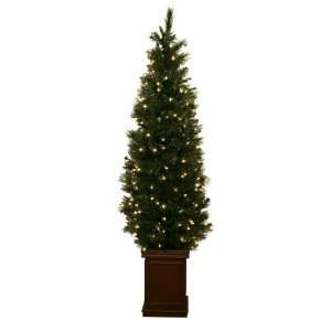 Good Tidings Prelit Artificial Slim Alaska Pine Christmas Tree 4 Feet